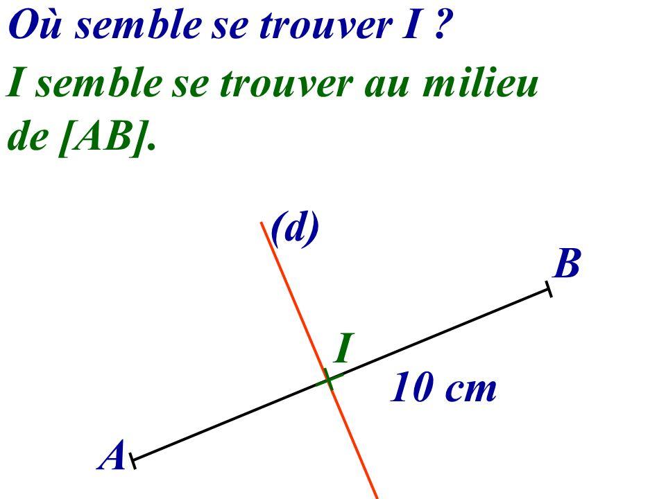 Où semble se trouver I I semble se trouver au milieu de [AB]. (d) B I 10 cm A